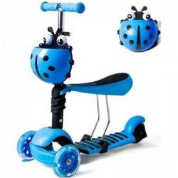 Paspirtukas Boružėlė Scooter 3in1 mėlynas