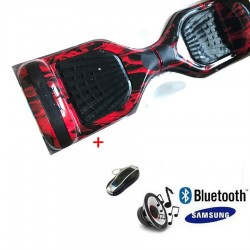 Modernus elektrinis riedis su Bluetooth - Red flame