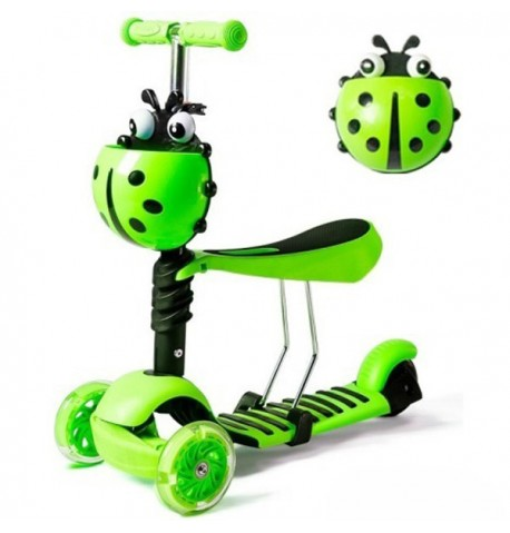 Paspirtukas Boružėlė Scooter 3in1 žalias