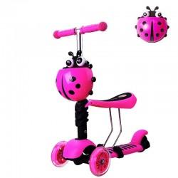 Paspirtukas Boružėlė Scooter 3in1 rožinis