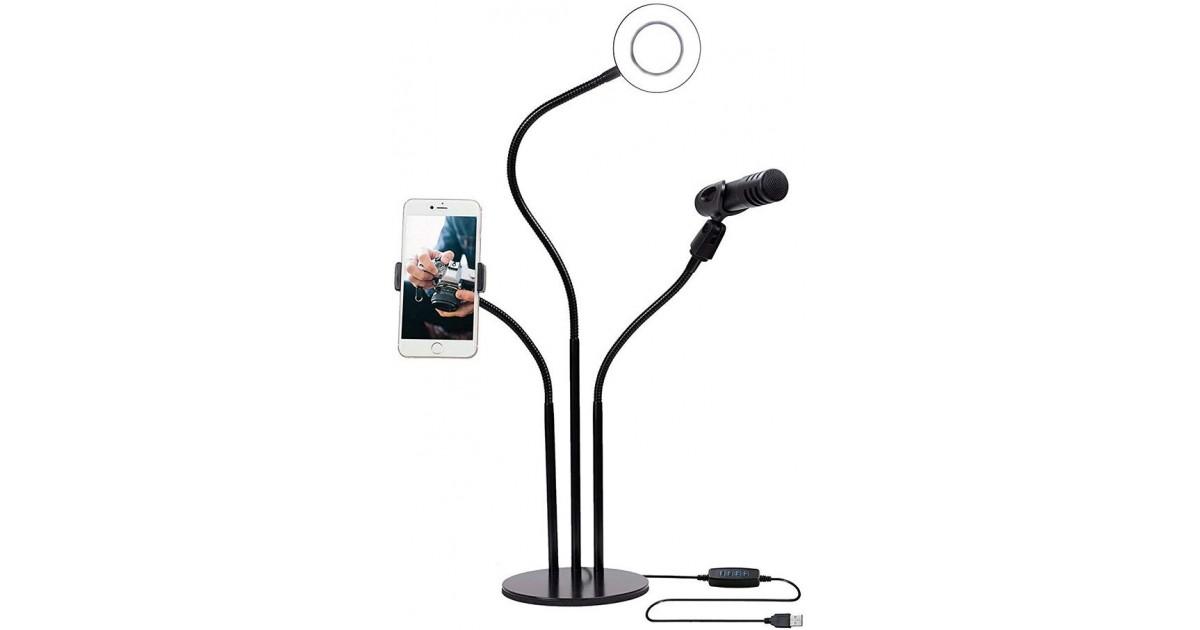 """""""USB Selfie Ring for LiveStream"""" žiedinis šviestuvas su telefono ir mikrofono laikikliu"""