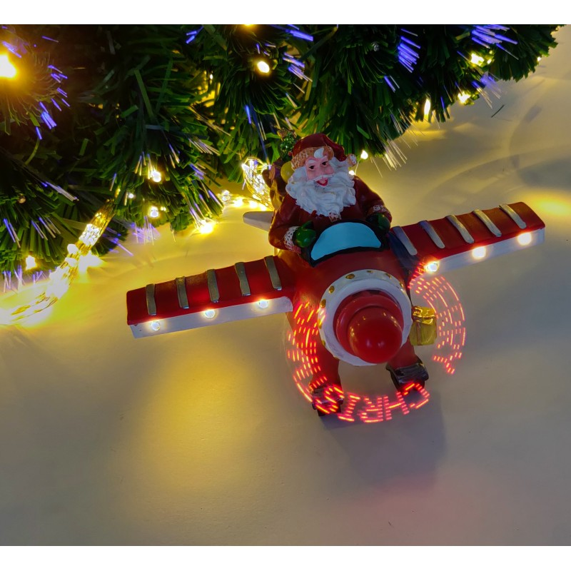 LED judančios šviesos dekoracija EKE - Kalėdų senis lėktuve
