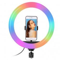 Žiedinė RGB LED lempa Ring Light 26cm + Stovas
