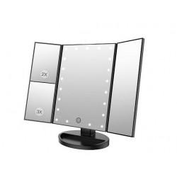 Pastatomas USB kosmetinis veidrodis su LED apšvietimu JUODAS