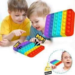Antistresinis Terapinis žaislas POP IT, vaivorykštės spalvos kvadratas