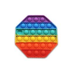 Antistresinis Terapinis žaislas POP IT, vaivorykštės spalvos Aštuonkampis